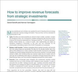 how to improve revenue forecasts from strategic investments