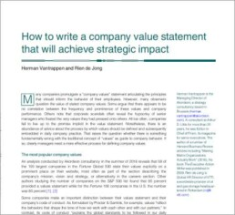 How to write a company value statement that will achieve strategic impact